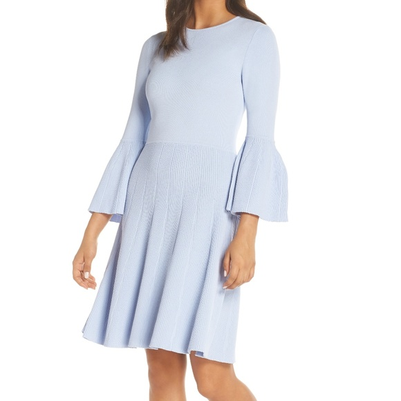 Eliza J Ribbed Fit Flare Sweater Dress Bell Sleeve